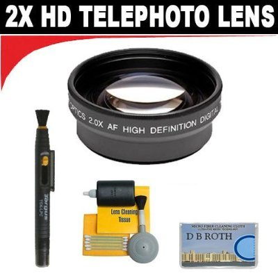 2x Digital Telephoto Professional Series Lens + 5 Pc Cleaning Kit + DB ROTH Micro Fiber Cloth For The Panasonic Pro AG-HMC150 Hard Drive Camcorders by DBROTH
