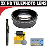 2x Digital Telephoto Professional Series Lens + 5 Pc Cleaning Kit + DB ROTH Micro Fiber Cloth For The Panasonic Pro AG-HMC150 Hard Drive Camcorders