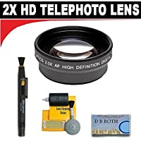 2x Digital Telephoto Professional Series Lens + 5 Pc Cleaning Kit + DB ROTH Micro Fiber Cloth For The Pansonic VDR-D100, D200, D210, D220, D230, D250, D300, D310, D50, M50, M53, M70, M75, M95 DVD Camcorders