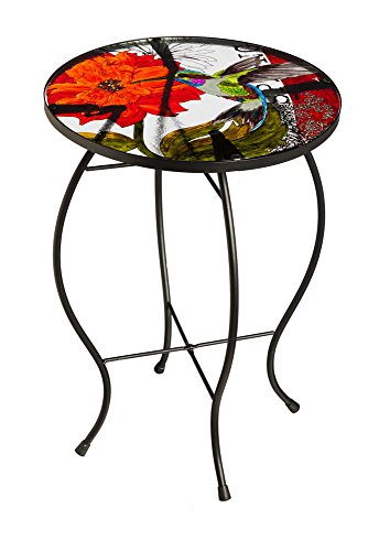 Evergreen Table (New Creative Classic Hummingbird Glass Patio Table)