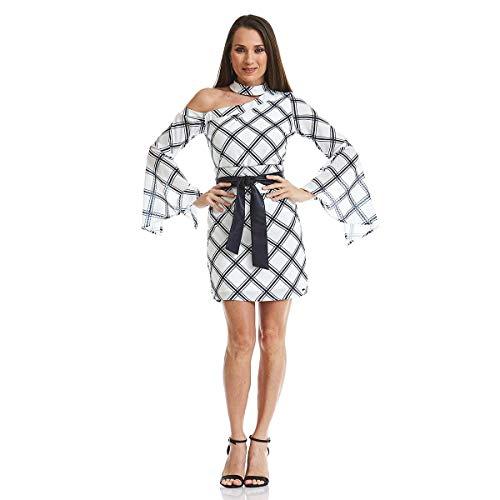 Vestido Acostamento Feminino Fashion Xadrez Bronx Off White