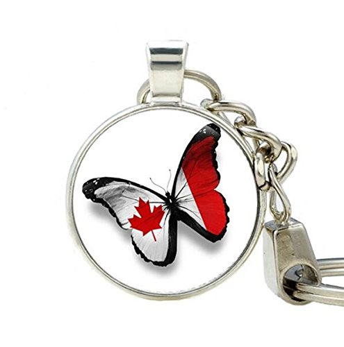 Canadian flag Keychain Red Maple Leaf Patriotic gift Flag jewelry Flag of Canada Key Ring Flag Key Ring Vintage style Antique National - Canadian Online Designers