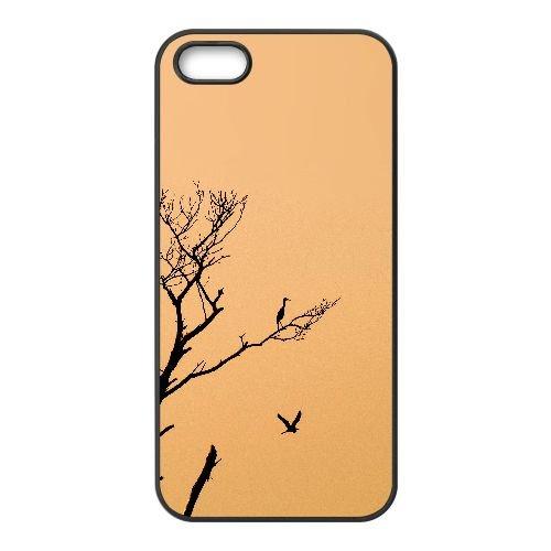 L7J58 mk oiseau arbre coucher de soleil nature minimale G8K9EL coque iPhone 4 4s cellulaire cas de téléphone couvercle coque noire KQ8IVR5OM