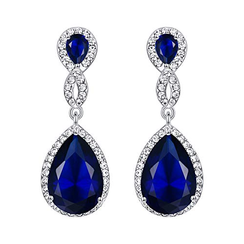 EVER FAITH Silver-Tone Austrian Crystal Zircon Wedding 8-Shaped Pierced Dangle Earrings Blue ()