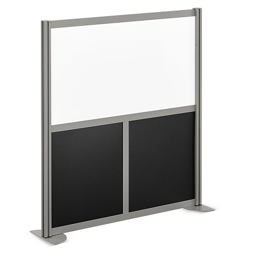 at Work Divider Panel 49.3''W x 53''H Black Laminate and White Laminate Inserts/Brushed Nickel Finish Aluminum and Steel Frame by NBF Signature Series