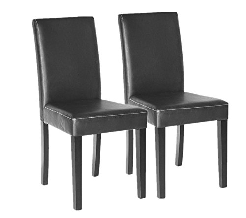 Polar Aurora Set of 2 Elegant Design Leather Modern Dining Chairs Room Urban Style Solid Wood Leatherette Padded Parson Chair Kitchen Seats Black/Brown (Black)
