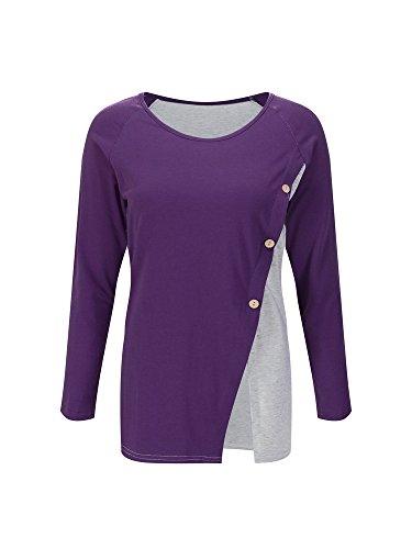Purple Lunghe Deep Impunture Decorative Pulsante Camicia Maglia A Maniche shirt Vita T w8nOPN0Xk