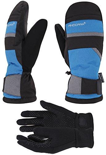 ANDORRA Hyper Tech Touchscreen Mittens w/Pockets & Optional Light Inner Gloves, Lens-Wiper Thumbs