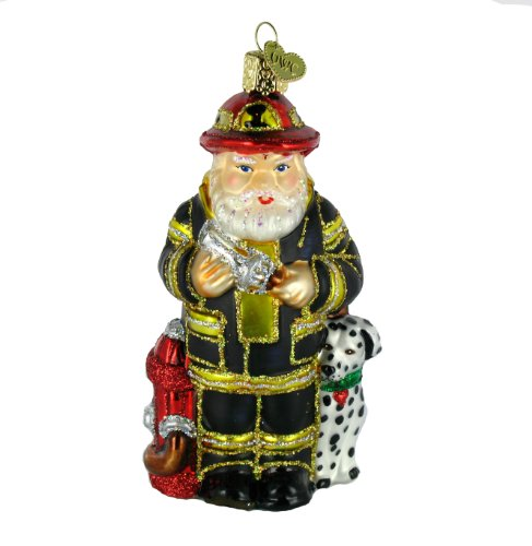 Old World Christmas Fireman Santa Ornament