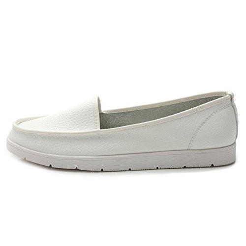 Cuxialilin Femmes Bout Rond Fermé Matériau Souple Tirer Sur Les Chaussures-chaussures Blanches