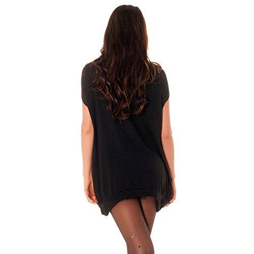 Miss Wear Line - Pull tunique noir avec strass et imprimé nounours