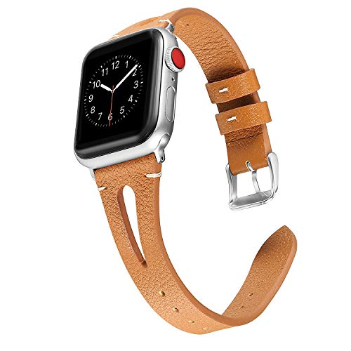 (Secbolt Leather Bands Compatible Apple Watch, 38mm 40mm Series 4 3 2 1, Slim Strap with Breathable Hole Replacement Wristband for Iwatch Nike+ Edition, Brown)
