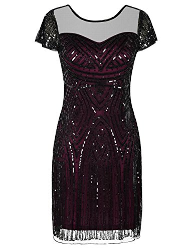 Prom Dresses Inspired Sequins Cocktail Flapper Dress XL Burgundy ()
