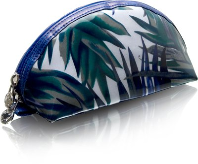 Cris Notti Blue Bamboo Dome Cosmetic Bag, Bags Central