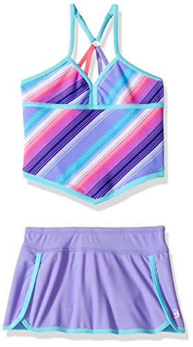 Free Country Girls' Stripe Tankini with Adj Back Straps & Bottom Brief Little, Violet, 5