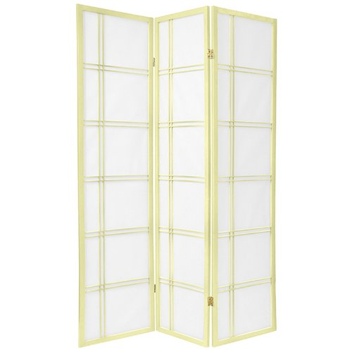 Oriental Furniture 6 ft. Tall Double Cross Shoji Screen - Special Edition - Ivory - 3 Panels