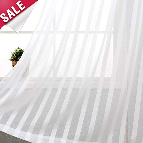 Striped Curtains White Sheer Curtains for Bedroom Sheer White Window Curtain 84 inches Long for Living Room Light Filtering Drapes Grommet Top, 2 Panels