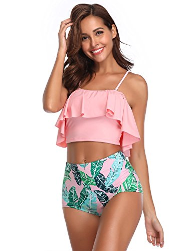 MarinaVida Women Off Shoulder Ruffle Swimsuit Crop Top Two Piece Bathing Suit by MarinaVida (Image #3)