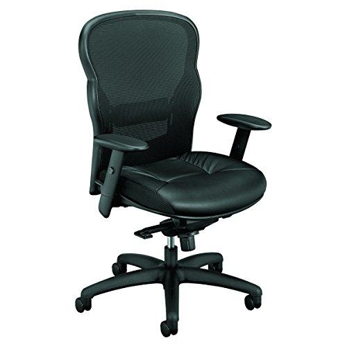 HON basyx VL701SB11 High-Back Swivel/Tilt Work Chair Mesh/Leather, Black