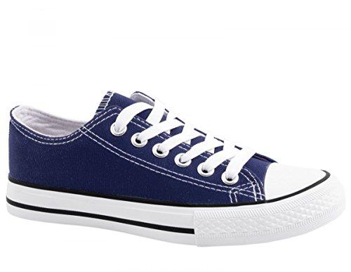 Elara Unisex Sneaker   Bequeme Sportschuhe für Damen und Herren   Low top Turnschuh Textil Schuhe Größe 39, Farbe DkBlue