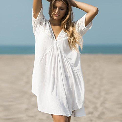 Hemlock Swimwear Shirts Women Bikini Tops Smock Lace Swimsuit Beach Blouse Bathing Suit (M, White) 130's Wool Suit