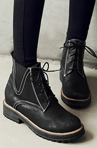 Aisun Womens Comfy Non Slip Round Toe Lace Up Ankle Boots Chunky Low Heel Booties Black HWaNrXkOf