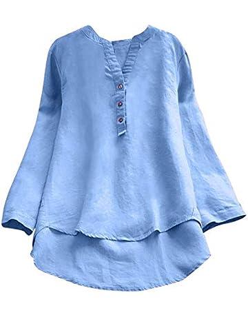 EUZeo Otoño Camiseta para Mujer Cuello V Blusas Camisa tee de Verano Sobredimensionado Manga Larga Tops