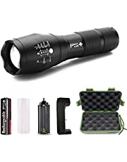 PeakPlus Tactical Flashlight With Rechargeable Battery & Charger Lfx1000 - Super Bright LED, High Lumen, Zoomable, 5 Modes, Water Resistant - Best Camping, Emergency Flashlights