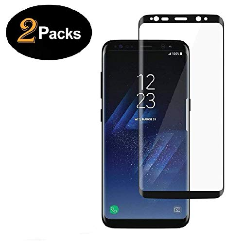 [2 Pack]Galaxy S8 Screen Protector, Full Coverage HD Clear 3D Tempered Glass,[Edge-to-Edge][Easy Installation][High Definition][Anti-Scratch][9H Hardness] Screen Protector Compatible Samsung Galaxy S8