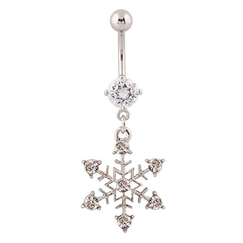 (316L Surgical Steel Rhinestone Snowflake Dangle Belly Button Ring )