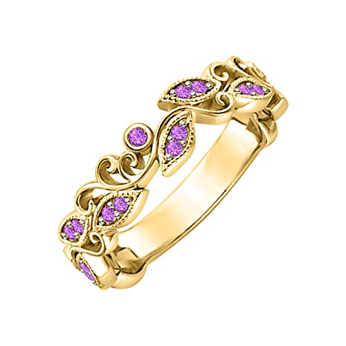 SVC-JEWELS Unique Leaf Flower Engagement Ring Round Amethyst 14k Yellow Gold Plated Art Deco Women's Promise ()