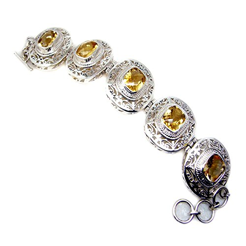 Real Citrine Sterling Silver Bracelet For Women Bangle Style November Birthstone Charm Length 6.5-8 Inch by 55Carat