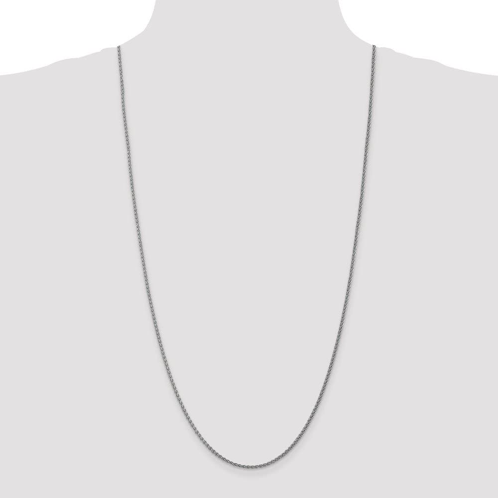 14k White Gold 1mm Pendant Spiga Chain Necklace
