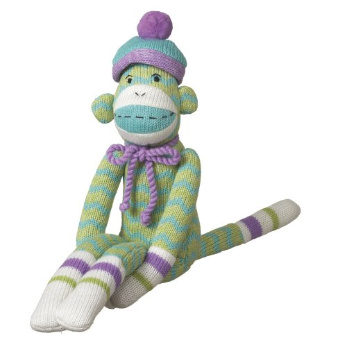 Sock Monkeez Monkey - MVP Brands Milo Zig-Zag Sock Monkey Collectible, Green, Small