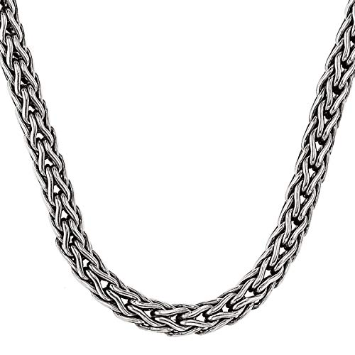Men's Sterling Silver Doberman Chain Necklace by Scott Kay | Intricately Designed Chain | Teardrop Chain Links | Handmade | Sterling Silver | Lobster Clasp | 30