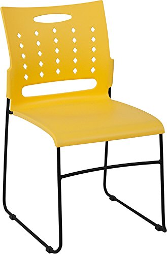 - Flash Furniture HERCULES Series 881 lb. Capacity Yellow Sled Base Stack Chair with Air-Vent Back