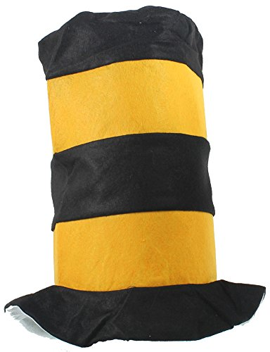 Jacobson Hat Co Mens Kool Kat Striped Top Hat - Yellow and Black One Size Fits Most Yellow (Top Hats Fancy Dress)