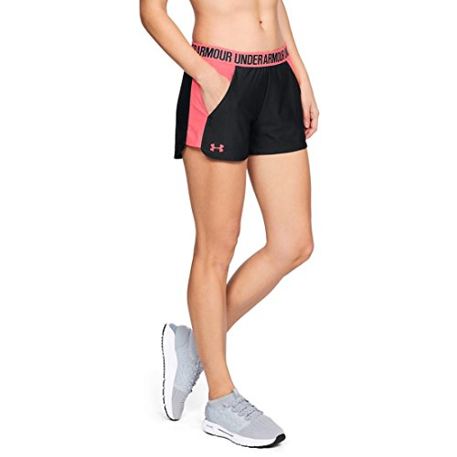 (Under Armour Womens Play Up Short 2.0, Black/Black/Brilliance, Large)