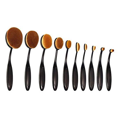 10 Picecs Makeup Brushes Set, INKERSCOOP Oval Foundation Contour Beauty Brushes Tool Set Powder Concealer Foundation Eyeliner Fashionable Super Soft Toothbrush Makeup Brush Set with Box