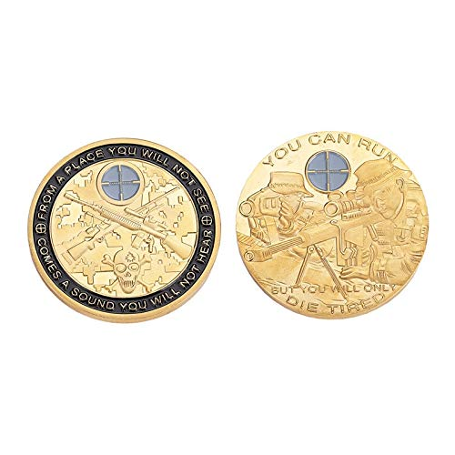 Dia Dia - 1pcs Gold Embossed Sniper Aiming Commemorative Challenge Coin You Can Run But Will Only Die Tired - Sniper Box Sniper Ghilli Die Coin Coin Choker Suit Coin Silver Cent Tin Double Ol ()