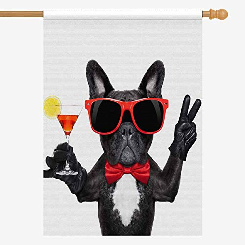 INTERESTPRINT Funny French Bulldog Dog Holding Martini Cocktail House Flag Decorative for Garden and Home Decorations, House Banner 28 x 40 Inches (Without Flagpole)]()