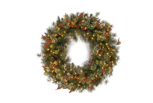 National Tree 36 Inch Wintry Pine Wreath with 150 Clear Lights (WP3-300-36W) (Clear Lights Tips 150)