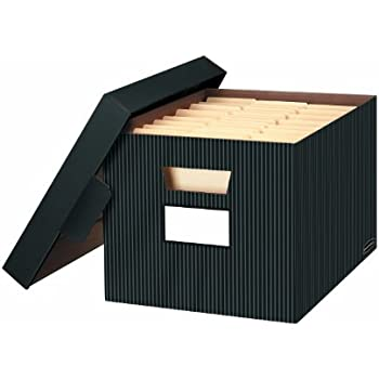 bankers box storefile decorative storage boxes letterlegal 10 x 12 x 15 inches pinstripe 4 pack 0029803 - Decorative Storage