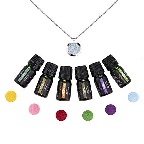 Anjou Essential Oil Necklace Gift Set, Aromatherapy Diffuser Necklace with 6 x 100% Pure Essential Oils (Lavender, Lemongrass, Peppermint, Eucalyptus, Tea Tree & Sweet Orange)