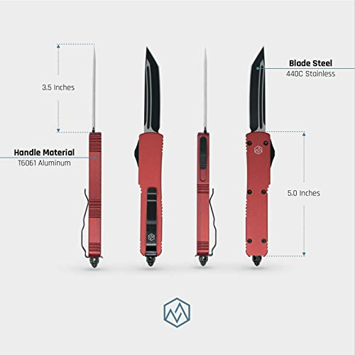 MTN OTF Double Action Safety Knife (Red & Black Tanto Blade)