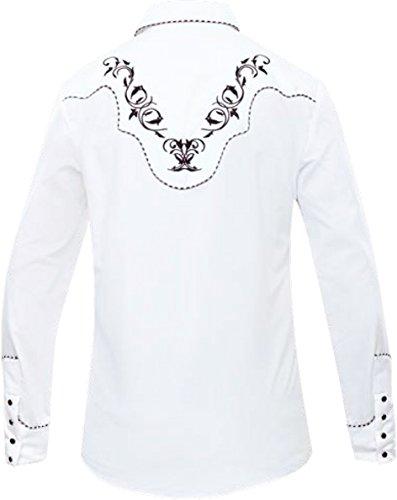 Modestone Men's Embroidered Western Hemd Filigree White