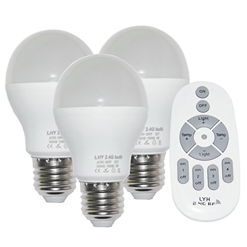 Fjiangyi 6W E27 Smart LED Light Bulbs Dimmable with 2.4GHz Wireless 4-Zone Remote Control - Adjustable Color Temperature (Warm/Cool) and Brightness 3 Pack (3 Bulb+1 Remote)