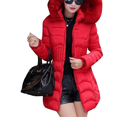 Mogogo Jacket Hood Collar Warm Fur Women's with Coat Down Red Skinny Brumal rpyrqS