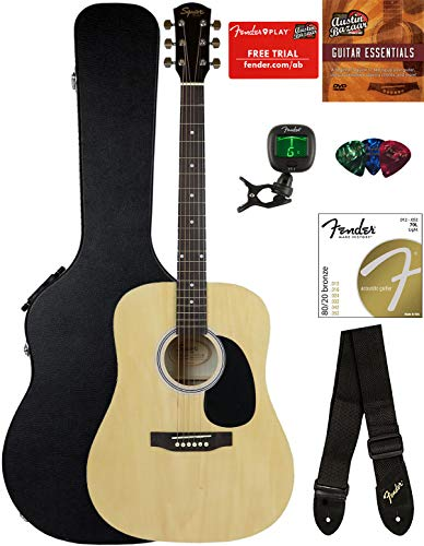Fender Squier Dreadnought Acoustic Guitar – Natural Bundle with Hard Case, Tuner, Strap, Strings, Picks, and Austin Bazaar Instructional DVD