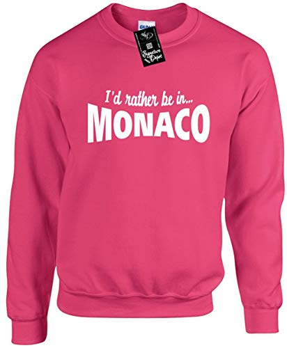 Unisex Funny Crewneck Sz S (I'd Rather BE in Monaco (Europe) Sweatshirt ()
